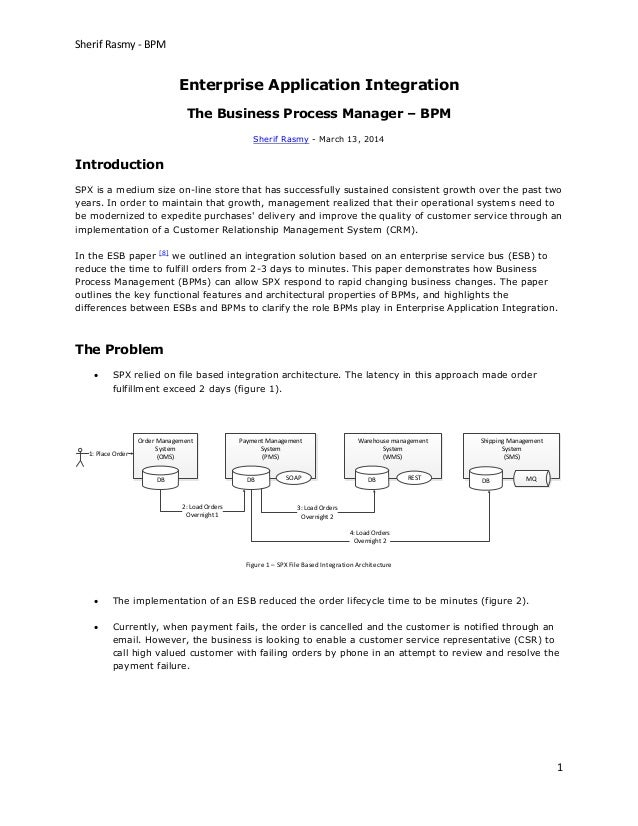 Sherif Rasmy - BPM 1 Enterprise Application Integration The Business Process Manager – BPM Sherif Rasmy - March 13, 2014 I...