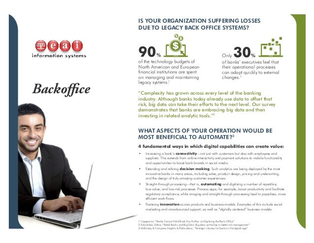 Backoffice IS YOUR ORGANIZATION SUFFERING LOSSES DUE TO LEGACY BACK OFFICE SYSTEMS? WHAT ASPECTS OF YOUR OPERATION WOULD B...