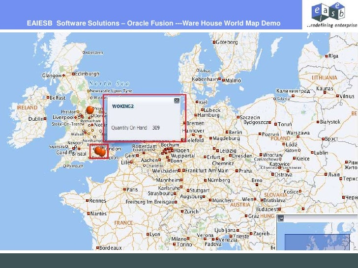 EAIESB  Software Solutions – Oracle Fusion ---Ware House World Map Demo <br />