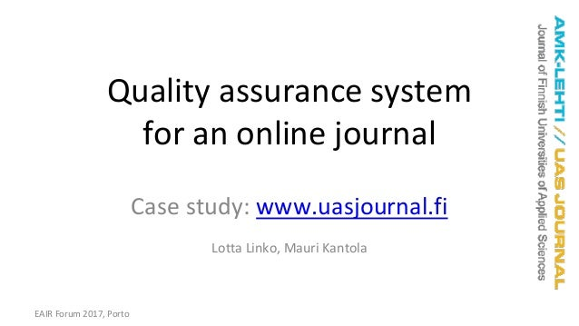 Quality assurance system for the online journal of Finnish
