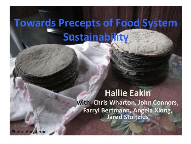 Towards Precepts of Food System  Sustainability  Hallie Eakin  with: Chris Wharton, John Connors,  Farryl Bertmann, Angela...