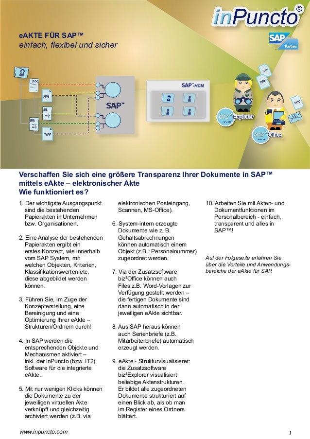 eAKTE FÜR SAP™  einfach, flexibel und sicher  Verschaffen Sie sich eine größere Transparenz Ihrer Dokumente in SAP™ mittel...