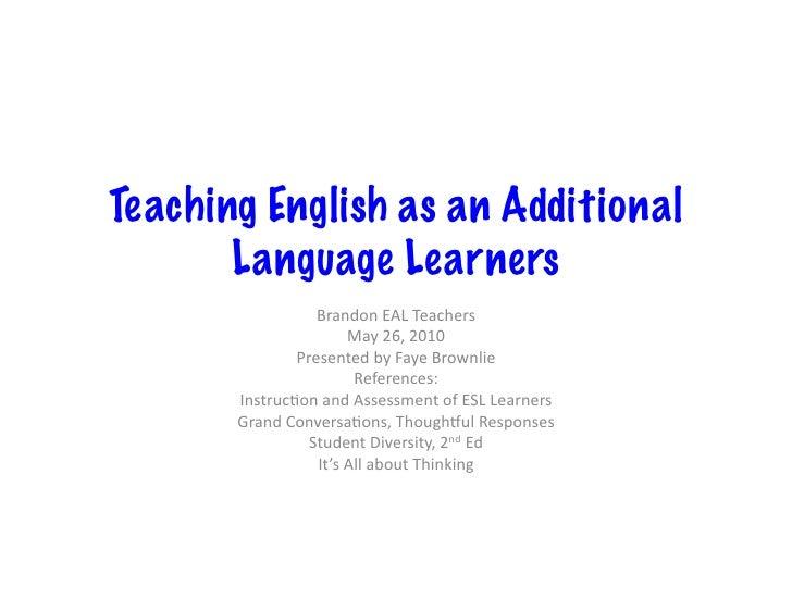 Teaching English as an Additional        Language Learners                     Brandon  EAL  Teachers               ...