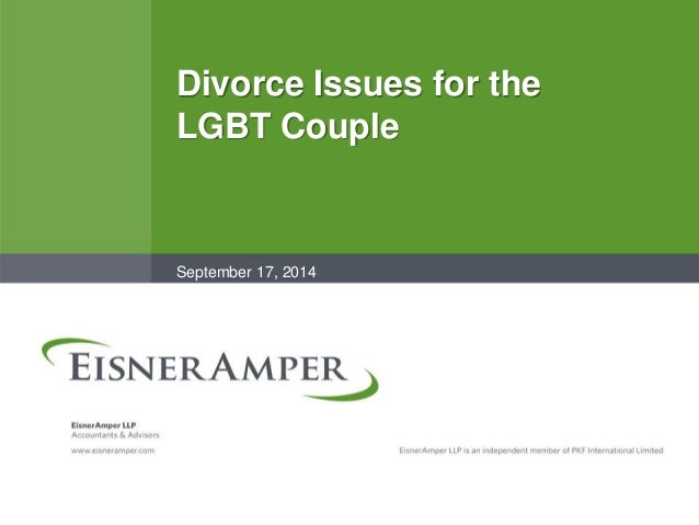 Divorce Issues for the LGBT Couple September 17, 2014