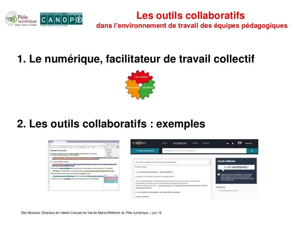 Les outils collaboratifs dans l'environnement de travail des équipes pédagogiques