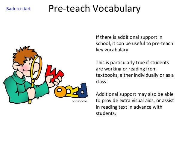 Back to start  Pre-teach Vocabulary If there is additional support in school, it can be useful to pre-teach key vocabulary...