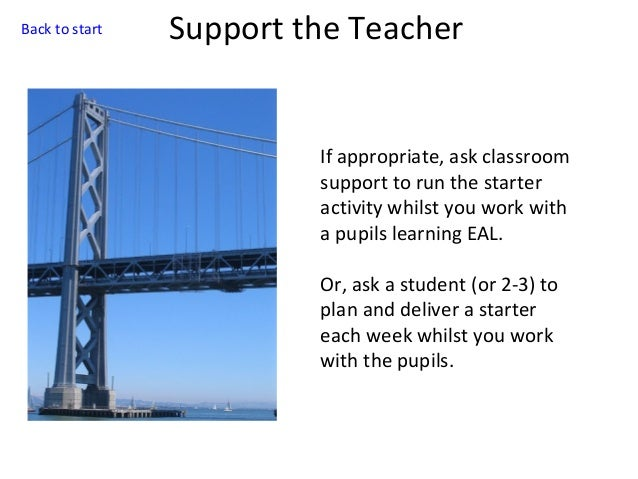 Back to start  Support the Teacher  If appropriate, ask classroom support to run the starter activity whilst you work with...