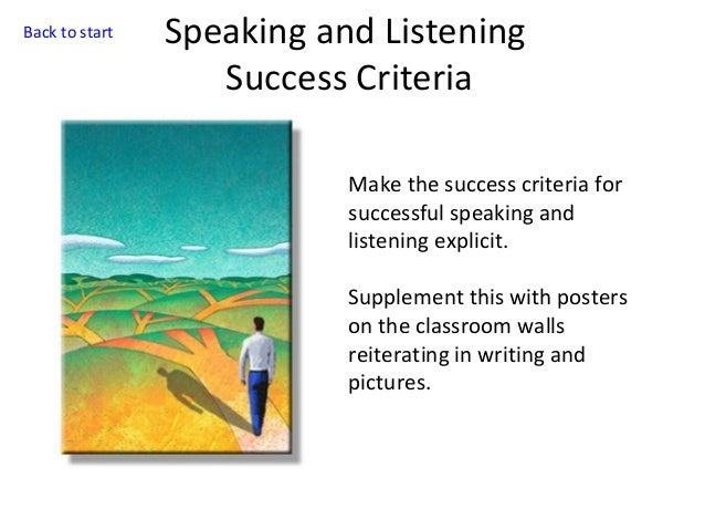 Back to start  Speaking and Listening Success Criteria Make the success criteria for successful speaking and listening exp...
