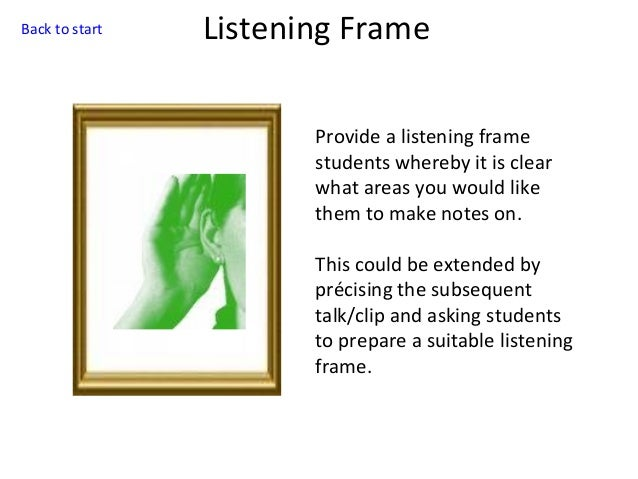 Back to start  Listening Frame Provide a listening frame students whereby it is clear what areas you would like them to ma...