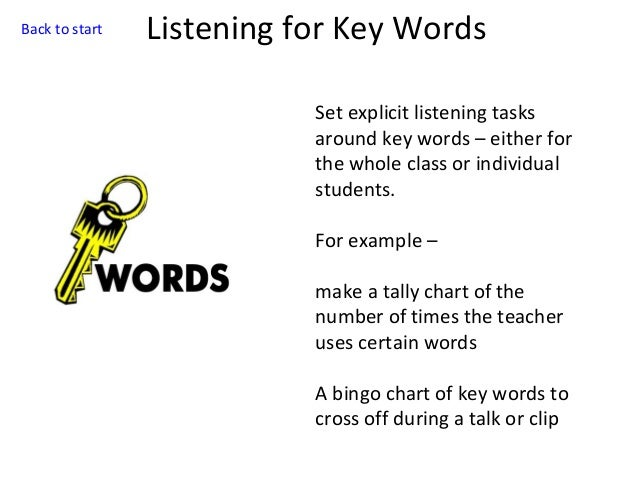 Back to start  Listening for Key Words Set explicit listening tasks around key words – either for the whole class or indiv...
