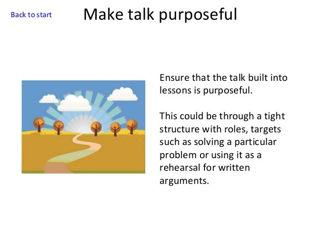 Back to start  Make talk purposeful  Ensure that the talk built into lessons is purposeful. This could be through a tight ...