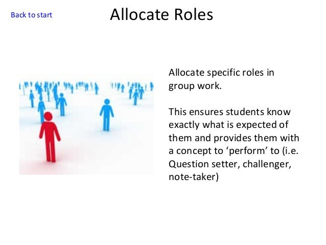 Back to start  Allocate Roles Allocate specific roles in group work. This ensures students know exactly what is expected o...