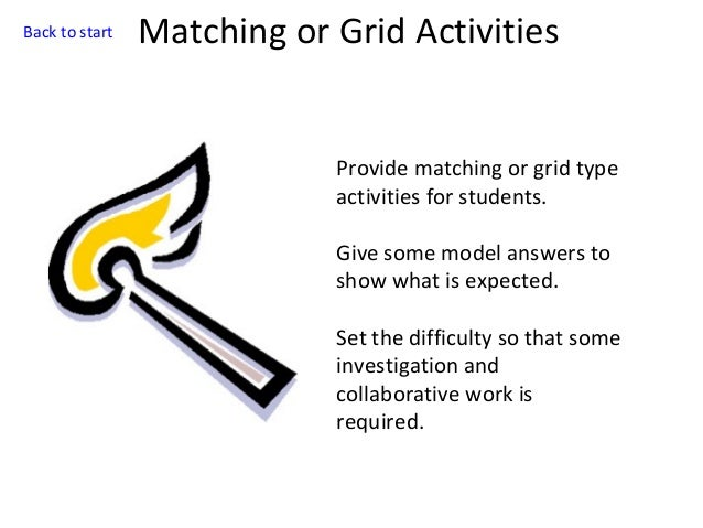Back to start  Matching or Grid Activities  Provide matching or grid type activities for students. Give some model answers...