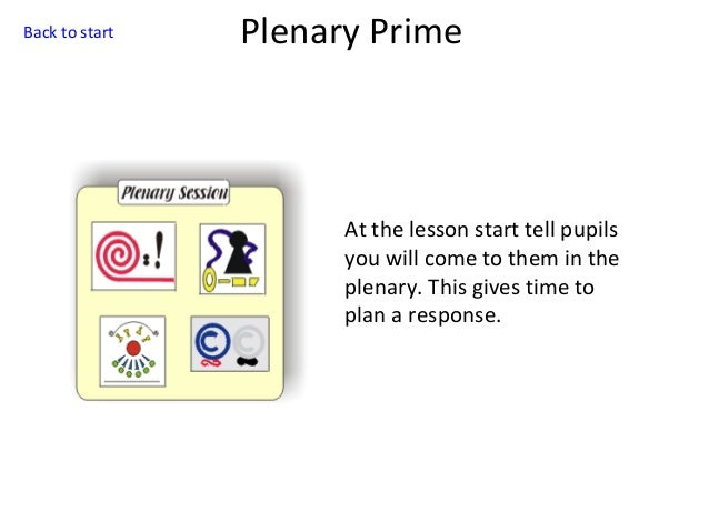 Back to start  Plenary Prime  At the lesson start tell pupils you will come to them in the plenary. This gives time to pla...