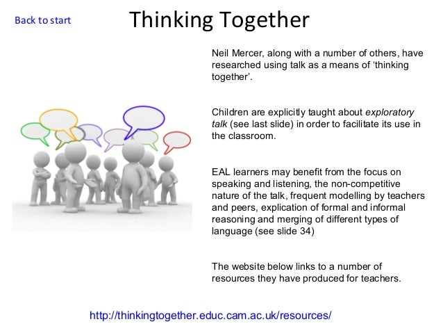Back to start  Thinking Together Neil Mercer, along with a number of others, have researched using talk as a means of 'thi...