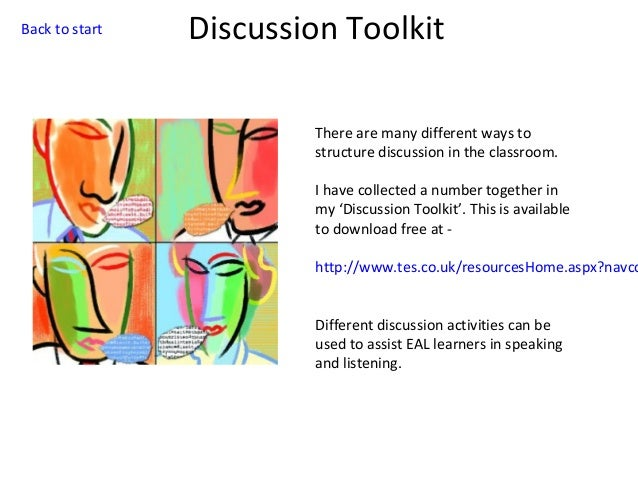 Back to start  Discussion Toolkit There are many different ways to structure discussion in the classroom. I have collected...