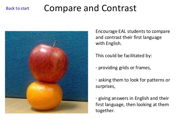 Back to start  Compare and Contrast Encourage EAL students to compare and contrast their first language with English. This...