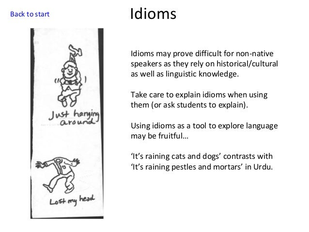 Back to start  Idioms Idioms may prove difficult for non-native speakers as they rely on historical/cultural as well as li...
