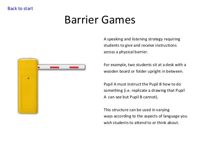 Back to start  Barrier Games A speaking and listening strategy requiring students to give and receive instructions across ...
