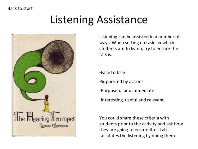Back to start  Listening Assistance Listening can be assisted in a number of ways. When setting up tasks in which students...