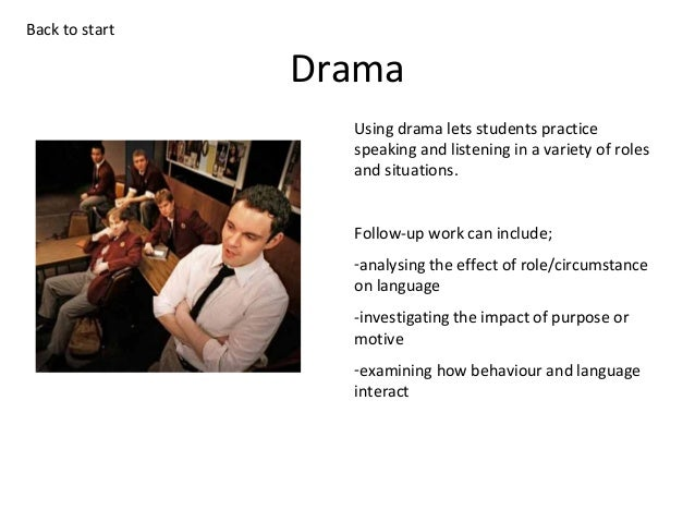 Back to start  Drama Using drama lets students practice speaking and listening in a variety of roles and situations. Follo...