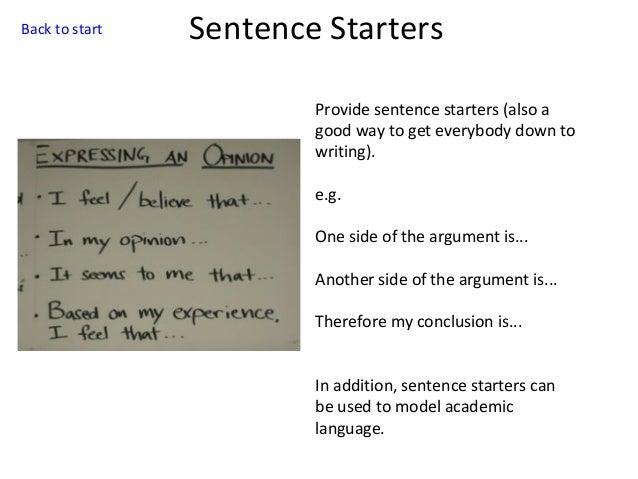 opinion writing sentence frames