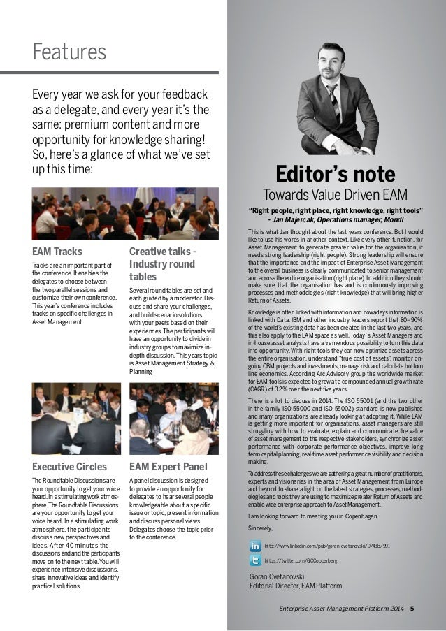 """Features  Editor's note  Towards Value Driven EAM  """"Right people, right place, right knowledge, right tools""""  - Jan Majerc..."""