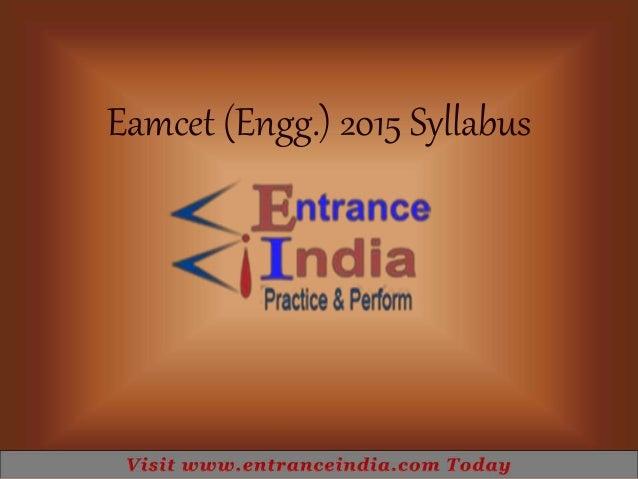 Eamcet (Engg.) 2015 Syllabus