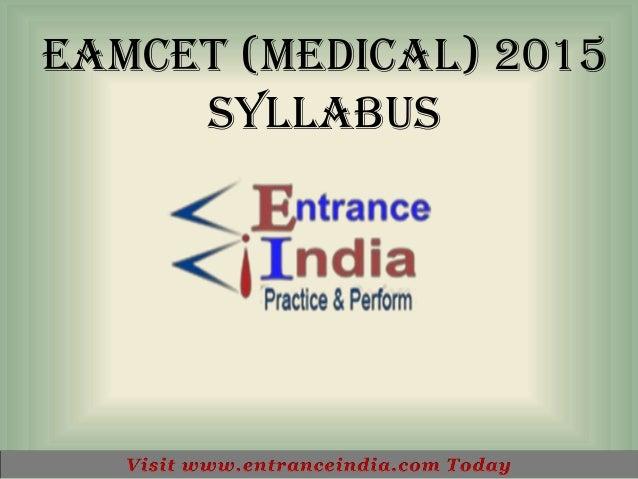 Eamcet (MEDICAL) 2015 Syllabus