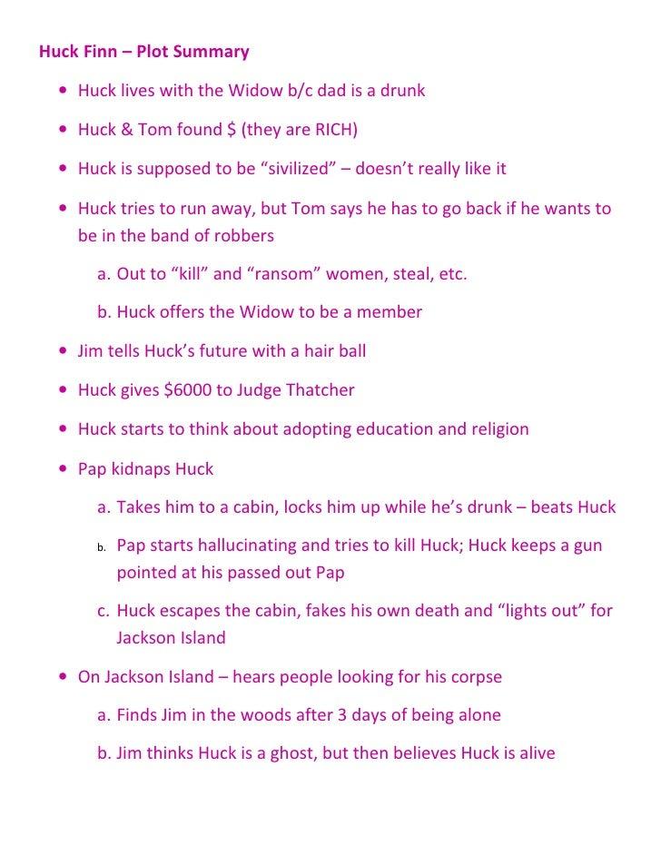 the adventures of huckleberry finn summary in 100 words