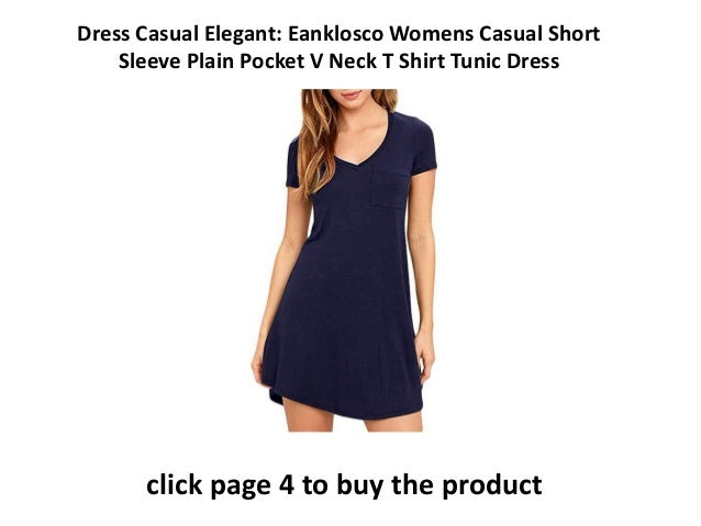 b4cdaaec92c elegantly casual dresses Eanklosco Womens Casual Short Sleeve Plain Pocket V  Neck T Shirt Tunic Dress Summer Party Dress