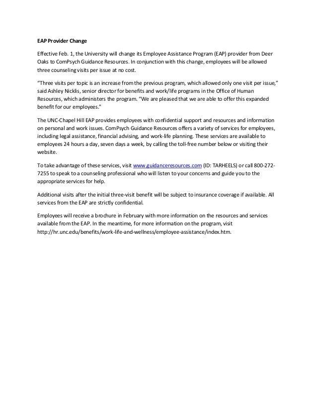 EAP Provider ChangeEffective Feb. 1, the University will change its Employee Assistance Program (EAP) provider from DeerOa...