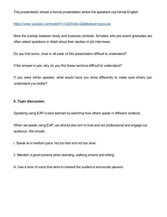 english for academic purposes teaching week  5 this presentation