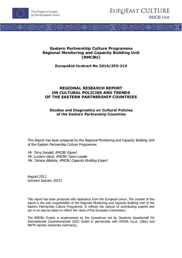 Eastern Partnership Culture Programme          Regional Monitoring and Capacity Building Unit                            (...