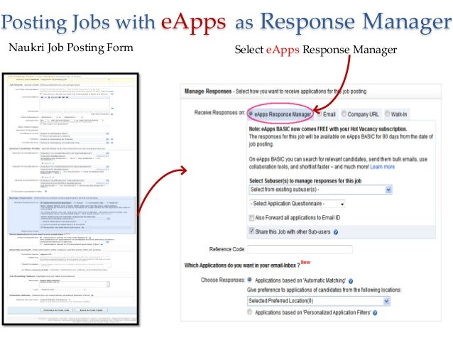 Posting Jobs with eApps as Response Manager Naukri Job Posting Form  Select eApps Response Manager
