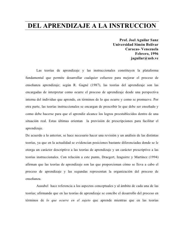 DEL APRENDIZAJE A LA INSTRUCCION                                                                  Prof. Joel Aguilar Sanz ...