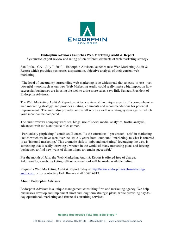 Endorphin Advisors Launches Web Marketing Audit & Report     Systematic, expert review and rating of ten different element...