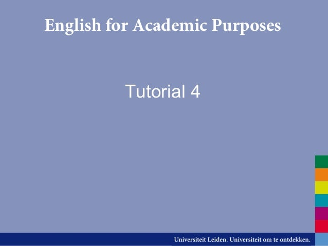 English for Academic Purposes Tutorial 4