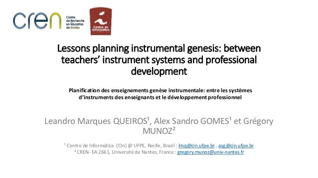Lessons planning instrumental genesis: between teachers' instrument s…