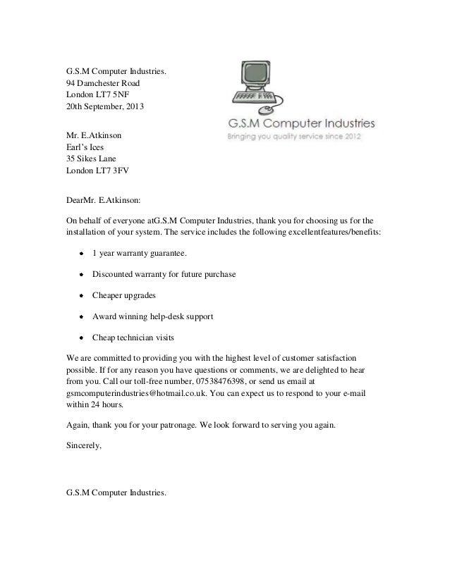Company Gratitude Letter