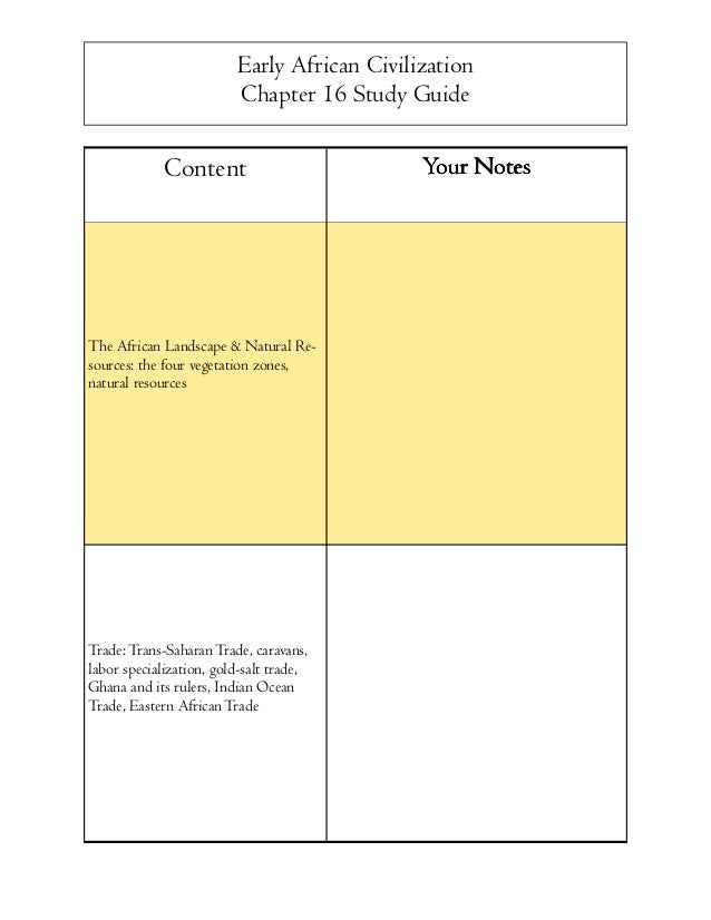 Early African Civilization Chapter 16 Study Guide  Content  The African Landscape & Natural Resources: the four vegetation...