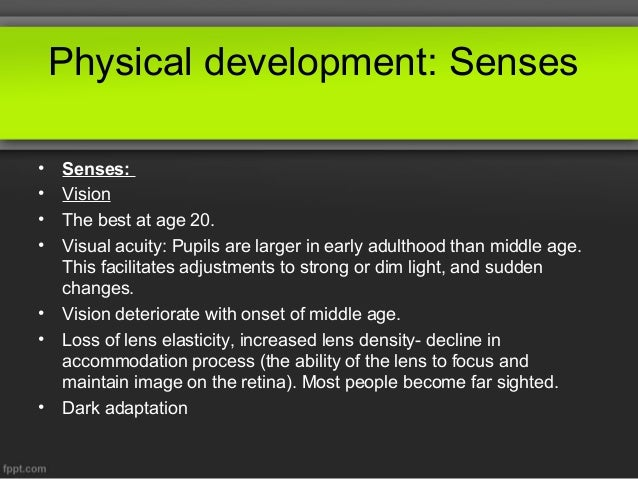 Middle aged adults physical development