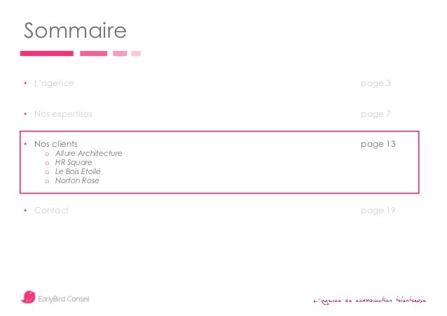 ' Sommaire • L'agence page 3 • Nos expertises page 7 • Nos clients page 13 o Allure Architecture o HR Square o Le Bois Eto...