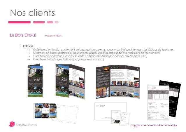 ' Nos clients LE BOIS ETOILÉ Maison d'hôtes o Edition → Création d'un leaflet cartonné 3 volets, haut de gamme, pour mise ...