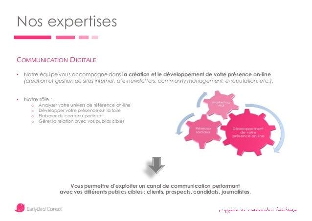 ' Nos expertises COMMUNICATION DIGITALE • Notre équipe vous accompagne dans la création et le développement de votre prése...