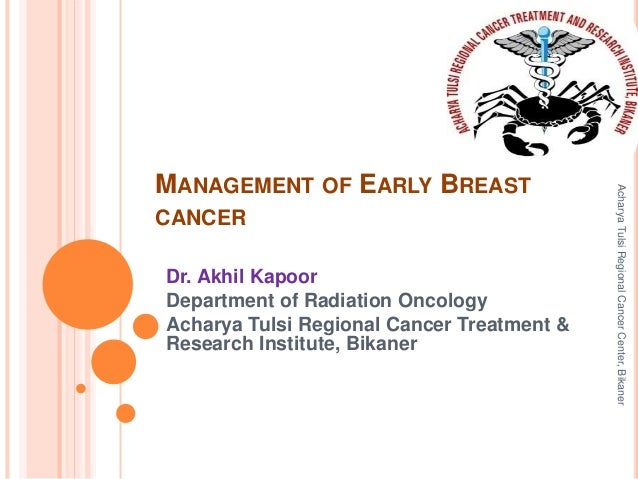 MANAGEMENT OF EARLY BREAST  CANCER  Dr. Akhil Kapoor  Department of Radiation Oncology  Acharya Tulsi Regional Cancer Trea...