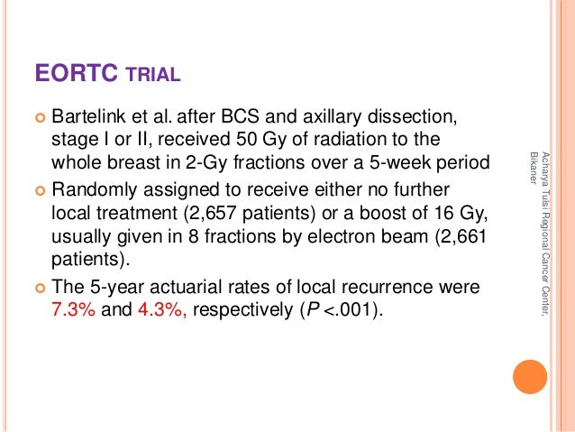 EORTC TRIAL   Bartelink et al. after BCS and axillary dissection,  stage I or II, received 50 Gy of radiation to the  who...
