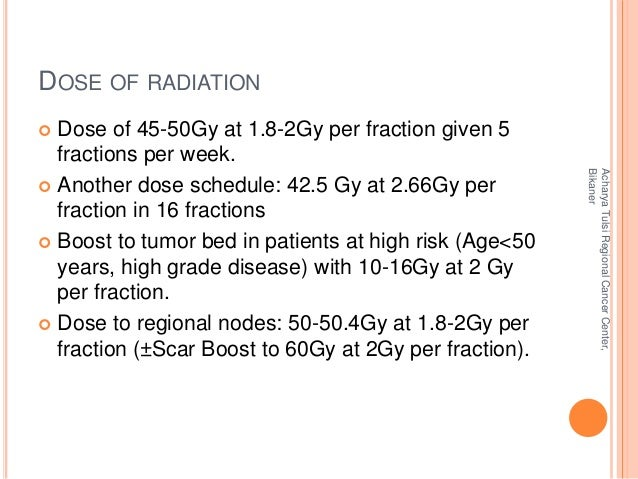 DOSE OF RADIATION   Dose of 45-50Gy at 1.8-2Gy per fraction given 5  fractions per week.   Another dose schedule: 42.5 G...