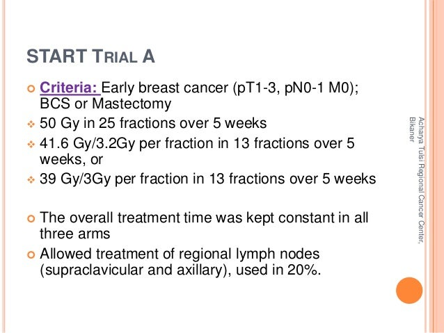 START TRIAL A   Criteria: Early breast cancer (pT1-3, pN0-1 M0);  BCS or Mastectomy   50 Gy in 25 fractions over 5 weeks...