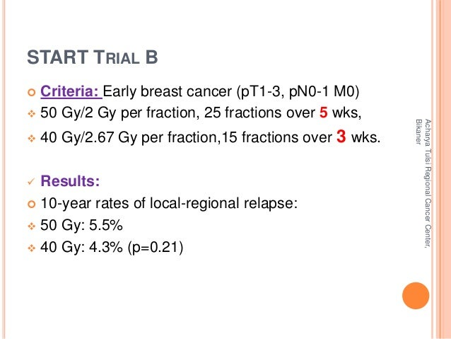 START TRIAL B   Criteria: Early breast cancer (pT1-3, pN0-1 M0)   50 Gy/2 Gy per fraction, 25 fractions over 5 wks,   4...